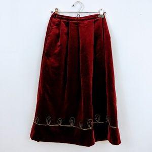 Burgundy 70s velvet skirt with gold design